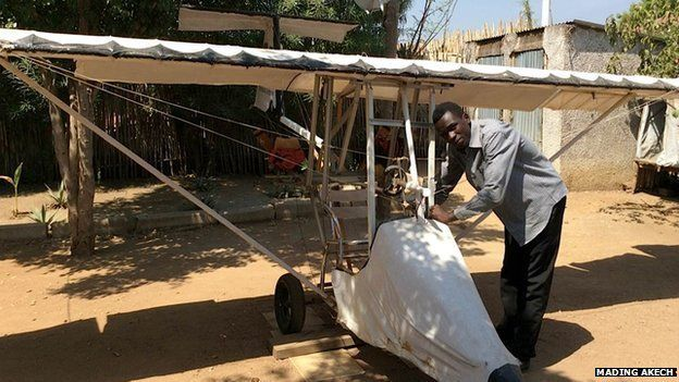 George Mel with his light aircraft