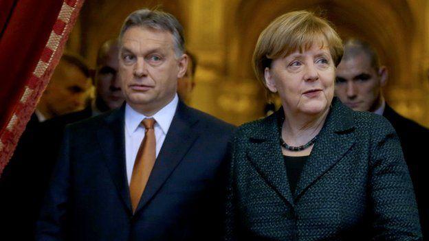 German Chancellor Angela Merkel (r) and Hungarian Prime Minister Viktor Orban in Budapest, 2 Feb 15