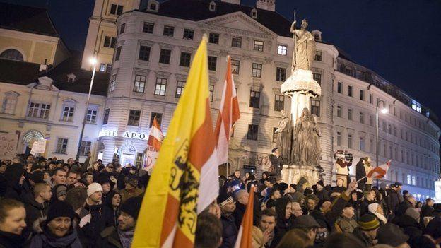 First Pegida rally in Austria on 2 February 2015
