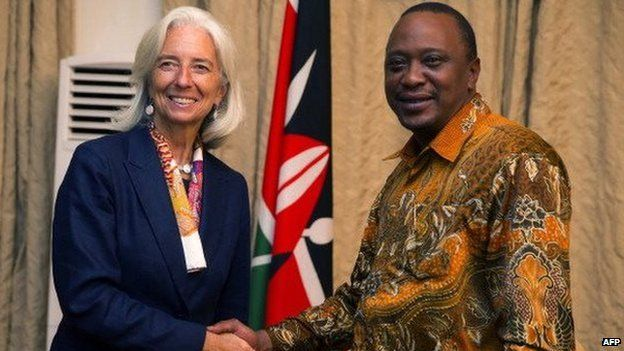 IMF Managing Director Christine Lagarde shaking hands with Kenyan president Uhuru Kenyatta. 4 January 2014