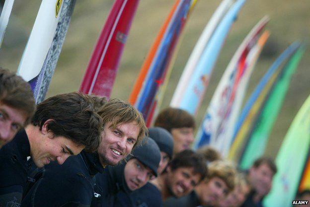 Competitors at the 2009 Mavericks Surf Contest