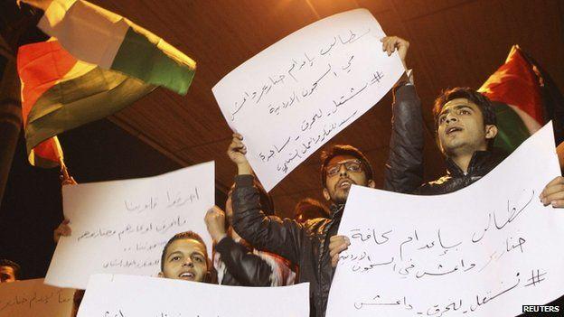 Demonstrators protest against the murder of pilot Moaz al-Kasasbeh (03 February 2015)