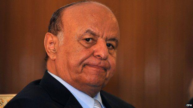 Yemeni president Abdo Rabbo Mansour Hadi at the presidential palace