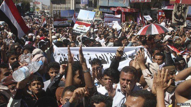 An anti-Houthi demonstration in Taiz, Yemen