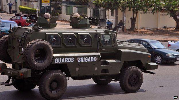 Nigeria troops patrol the city of Abuja, Nigeria, Saturday, Feb. 7, 2015