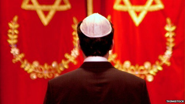 Jewish man wearing skull cap
