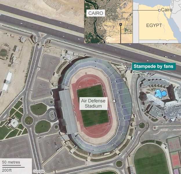 Satellite map showing location of Air Defense Stadium in Cairo and site of stampede on 8 February 2014