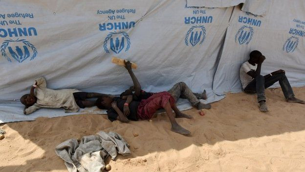 Nigerian refugee children in a refugee camp in Baga Sola by Lake Chad January 26, 2015