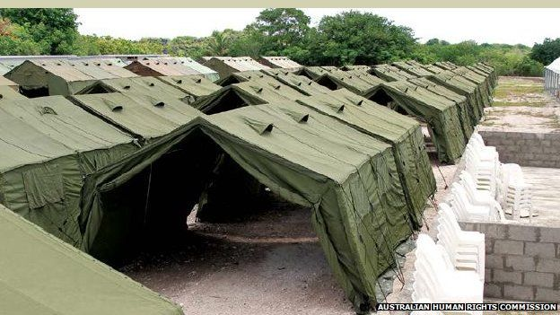 Illegal immigration camp in the South Pacific island of Nauru