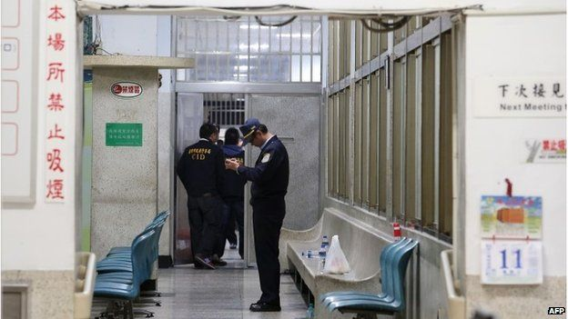 Police inside the Kaohshiung prison, Taiwan (11 Feb 2015)
