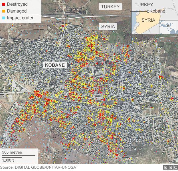Map showing damage analysis in Kobane