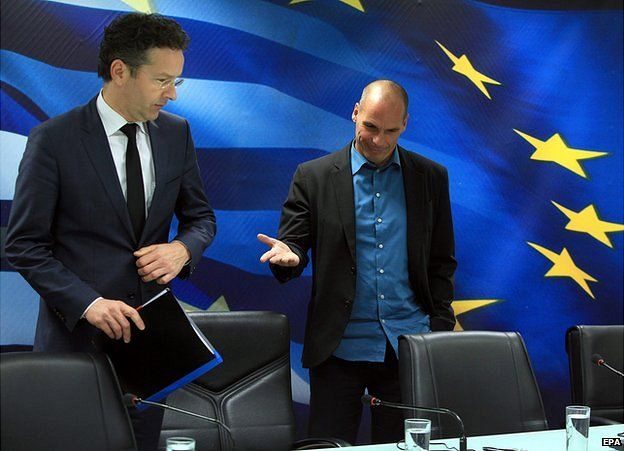 Eurogroup chief Jeroen Dijsselbloem (left) and Greek Finance Minister Yanis Varoufakis at press conference in Athens, Greece, 30 January 2015