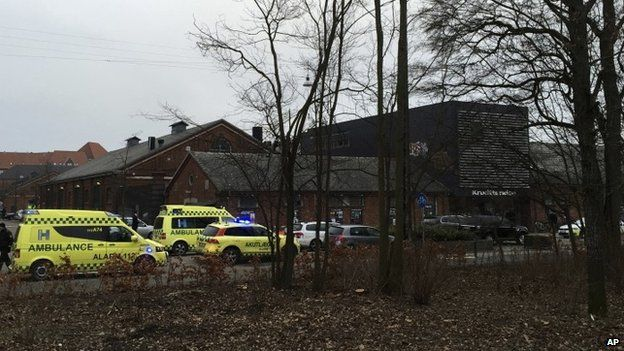 """Emergency services gather outside a venue after shots were fired where an event titled """"Art, blasphemy and the freedom of expression"""" was being held in Copenhagen, Saturday, Feb. 14, 2015"""