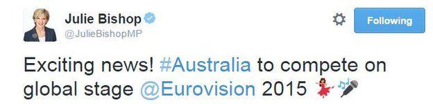 Tweet from Julie Bishop