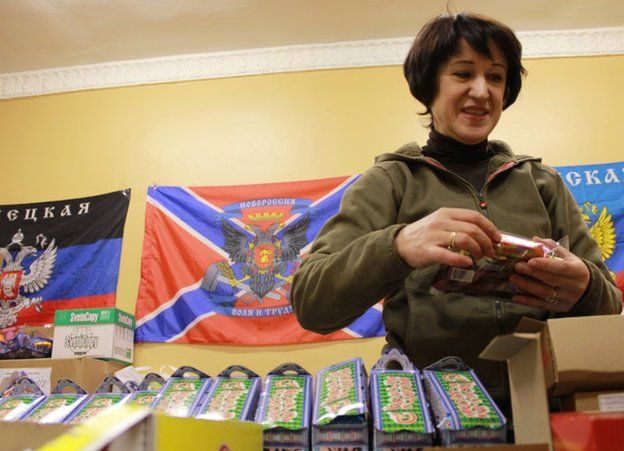 A collection point for donations to the Novorossiya cause in St Petersburg