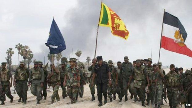 Sri Lankan troops after capturing the last patch of coastline in the Mullaittivu district held by the Tamil Tigers (May 2009)