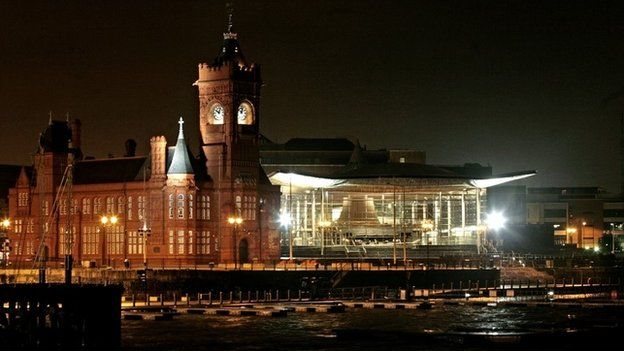 Welsh Assembly at night
