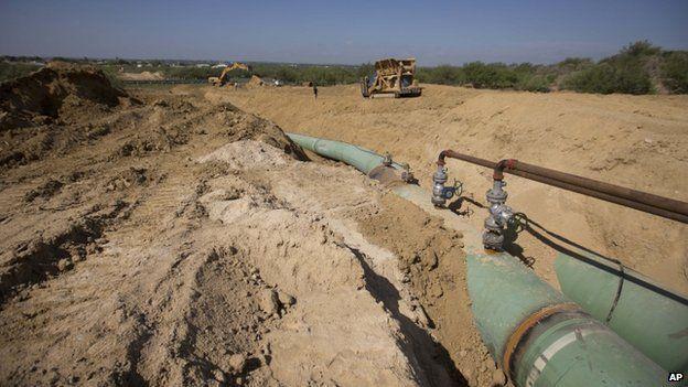 Gas pipeline in Nuevo Leon, near the Texas border