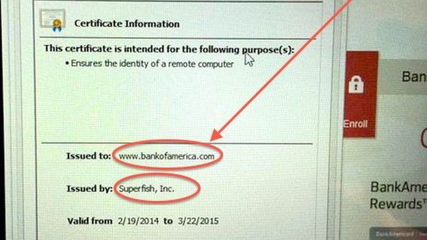Screen grab of how Superfish issues certificates