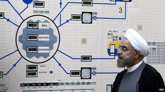 Hassan Rouhani visiting Bushehr nuclear power plant in Iran in January 2015