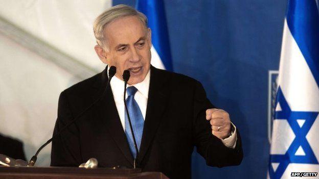 Israeli Prime Minister Benjamin Netanyahu delivers a speech in Jerusalem on 16 February2015.