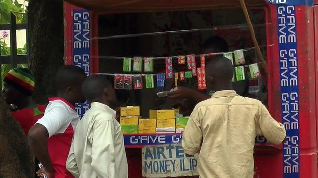 A stall selling mobile phone cards in Malawi