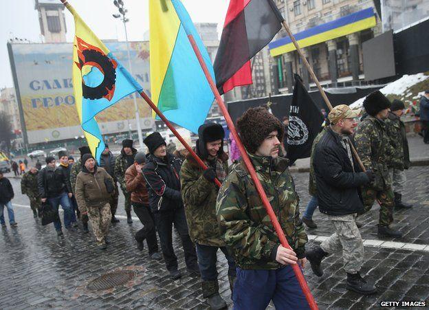 Cossack nationalists marching on Maidan, 20 Feb 15