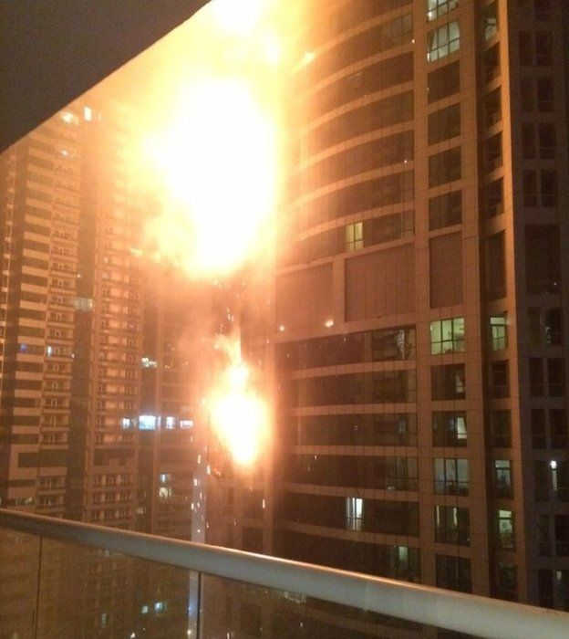 A high rise tower in Dubai on fire