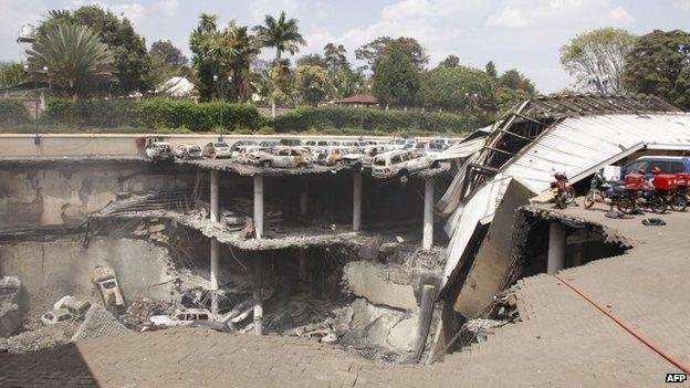 Destroyed section of Westgate shopping centre in Nairobi, Kenya