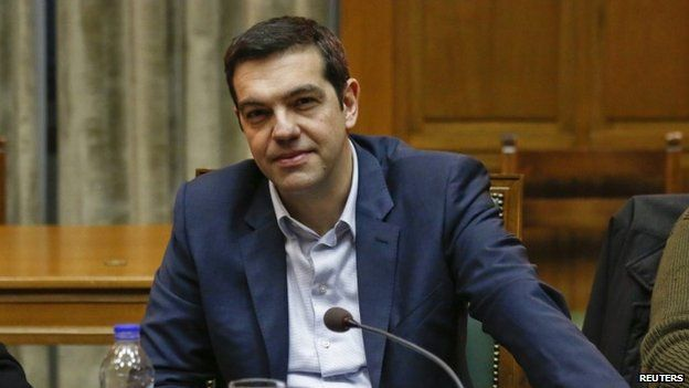 Greek PM Tsipras attends a cabinet meeting at the parliament building in Athens in February.