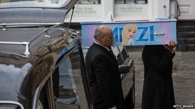 Mitzi Steady's coffin is taken to Bath Abbey