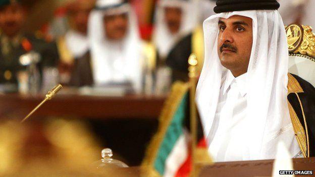 Qatari Emir Qatari Emir Sheikh Tamim bin Hamad Al Thani - shown in Doha in 2014