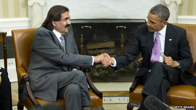 The Qatari emir and the US president, shaking hands in April 2013