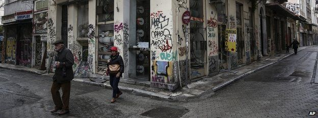A district of Athens on Monday