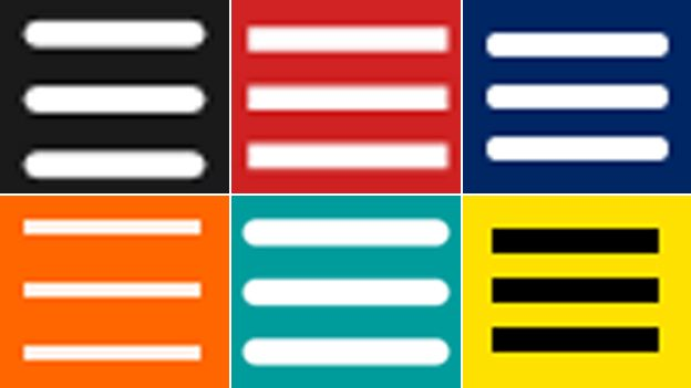Hamburger icons (clockwise from top left): Spotify, BBC News, Amex, BBC Sport, T-Mobile, Now TV