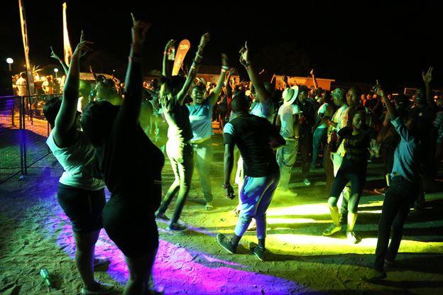 People dancing at festival
