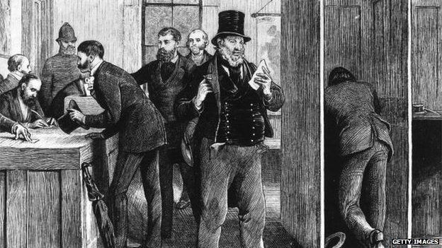 In the polling booth during the parliamentary elections of 1873