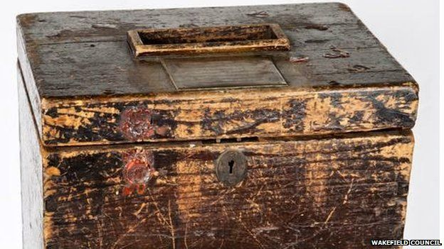 The ballot box used in the Pontefract by-election of 15 August 1872