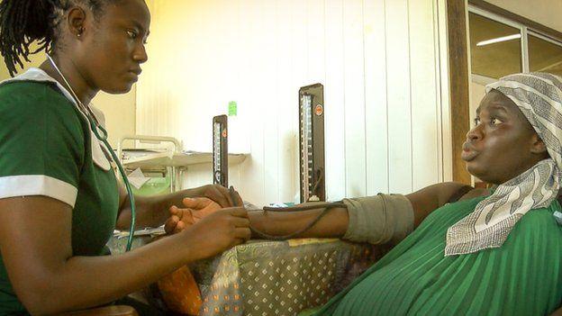 Salma Razak (left) a nurse at Korle Bu Hospital in Accra, Ghana