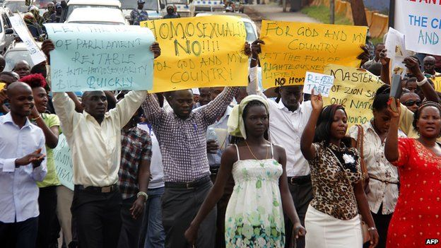 An anti-homosexuality march march on the streets of Kampala, Uganda - 11 August 2014