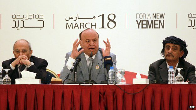 Yemeni President Abdrabbuh Mansour Hadi at the National Dialogue Conference in Sanaa