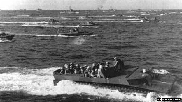 US landing craft heading for Iwo Jima