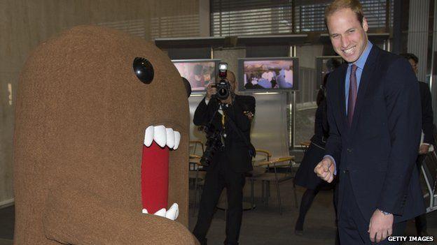 "Prince William meets NHK mascot ""Domo"""