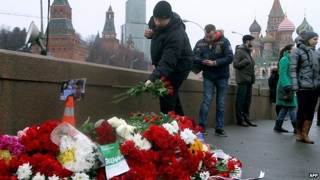 Flowers left at the site of Boris Nemtsov's killing, Moscow, 28 Feb 2015