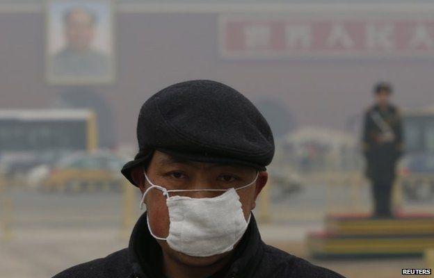 Man in pollution mask in Tiananmen Square, Beijing (Jan 2015)