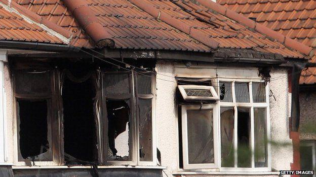 Burned house in Neasden