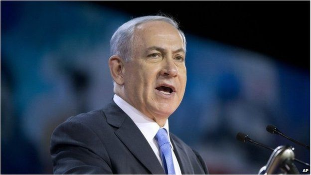 Israeli Prime Minister Benjamin Netanyahu speaks at the American Israel Public Affairs Committee (AIPAC) Policy Conference in Washington, 2 March 2015