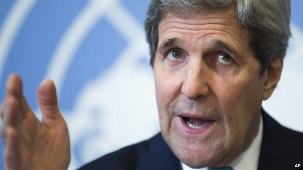 Secretary of State John Kerry gestures during a news conference after he delivered remarks to the United Nations Human Rights Council 2 March 2015