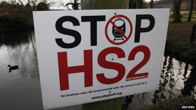 HS2 protest sign in Little Missenden, south-west England