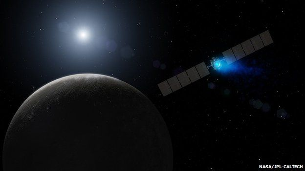 Artist's impression of Dawn firing its ion engine on approach to Ceres